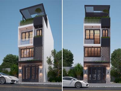 Mẫu thiết kế nhà phố 5x10mx4 tầng tại Bắc Ninh