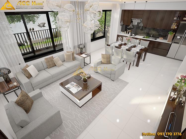 thiết kế phòng ăn ngay cạnh phòng khách