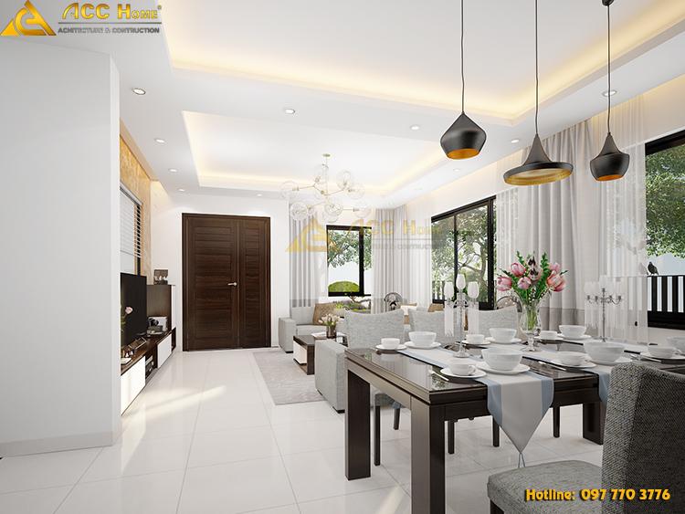 phòng ăn được thiết kế với tone màu sáng