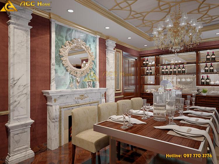 thiết kế bàn ăn chung cư 220m2