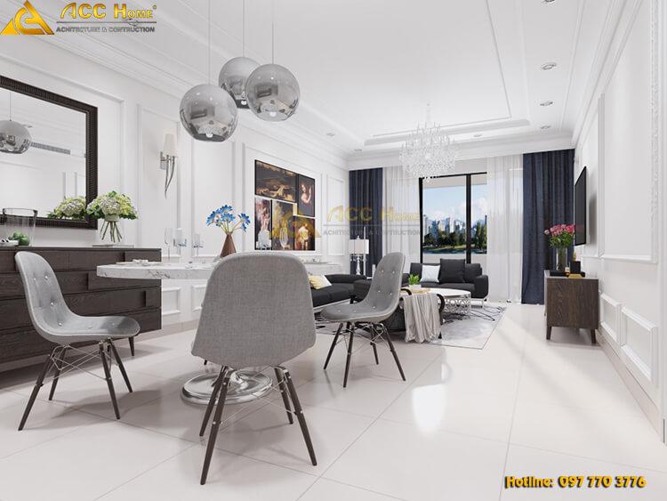 thiết kế nội thất bàn ăn chung cư Tây Hồ Hà Nội