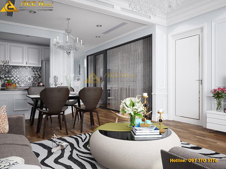 bàn ăn được thiết kế ngay cạnh phòng khách