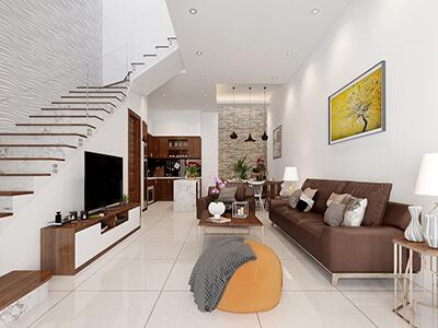 thiết kế nội thất nhà anh hồng mặt tiền 5 m