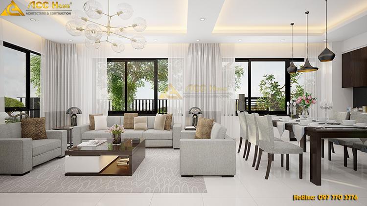 Thiết kế nội thất phòng khách biệt thự hiện dại 90m2 tai Ha Long