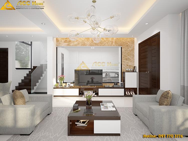 thiết kế phòng khách với đày đủ tiện nghi