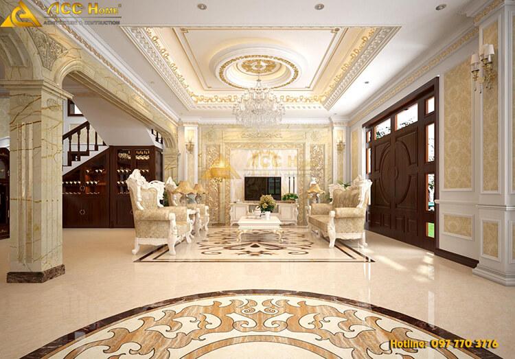 Thiết kế nội thất phòng khách biệt thự 90m2 tại Hạ Long