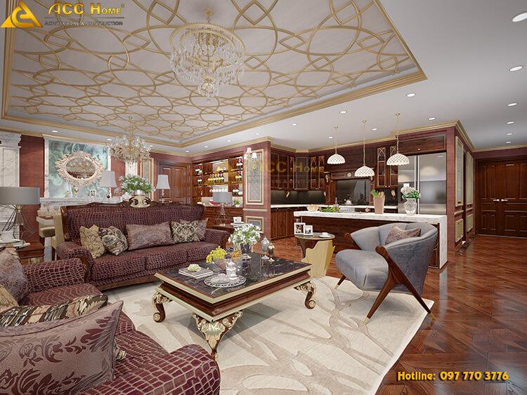 thiết kế phòng khách chung cư theo phong cách tân cổ điển