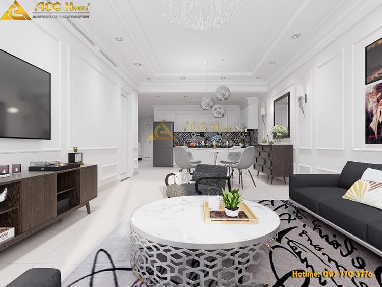thiết kế nội thất phòng khách chung cư 81m2 tại Quảng An Tây Hồ Hà Nội