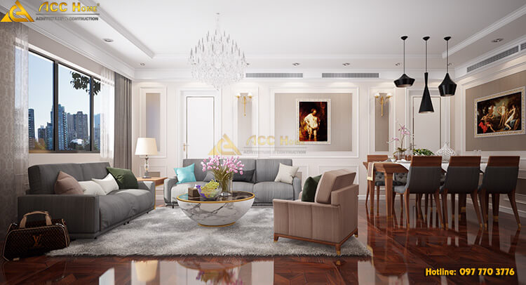 Thiết kế phòng khách không gian rộng rãi