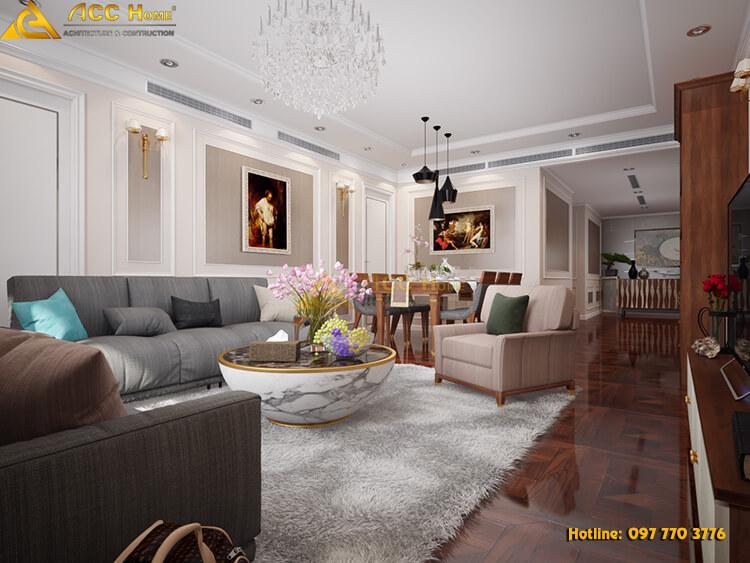 thiết kế phòng khách nội thất chung cư 97m2