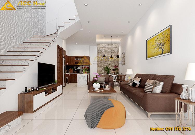 thiết kế nội thất phòng khách nhà phố mặt tiền 5 m