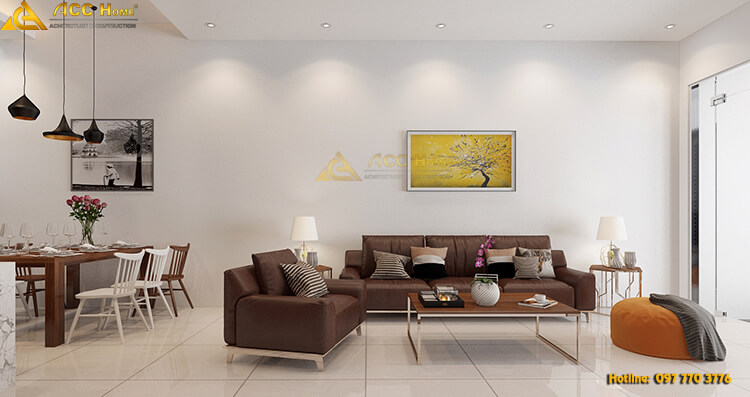 phòng khách được thiết kế nổi bật với bàn ghế sofa