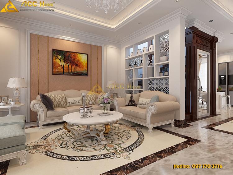 thiết kế nội thất phòng khách căn hộ 72m2 khu đô thị vinhome long biên