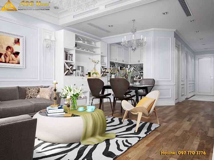 Thiết kế nội thất chung cư rộng 84 m2 tại Quảng An