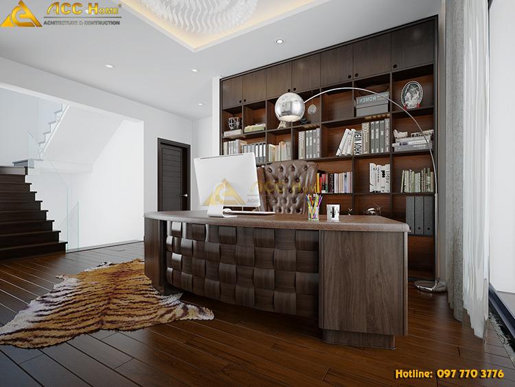 nội thất bằng gỗ chiếm chủ đạo phòng làm việc