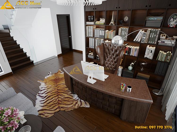 phòng làm việc được thiết kế với các ngăn đựng tài liệu