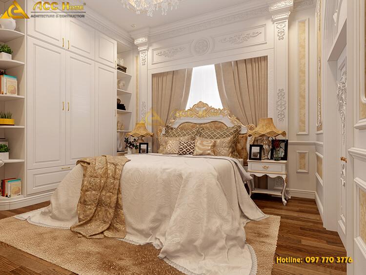 thiết kế nội thất phòng ngủ biệt thự tân cổ điển tại Hạ Long