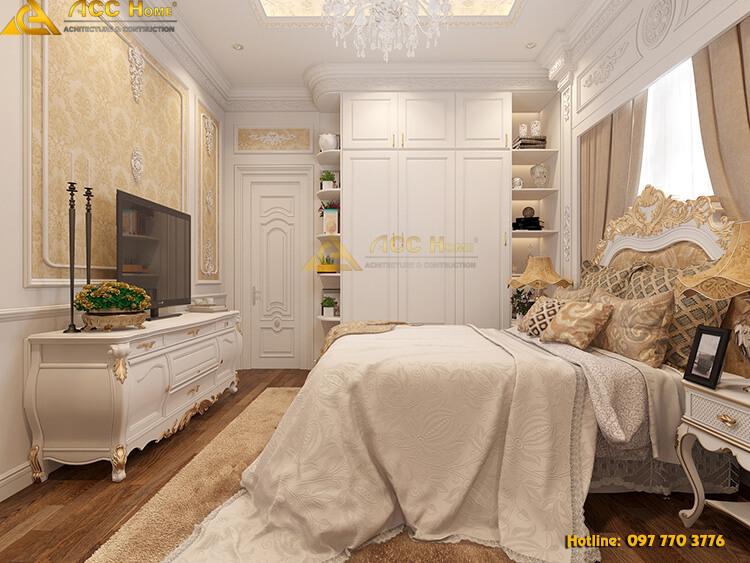 phòng ngủ được thiết kế kèm theo tivi giải trí