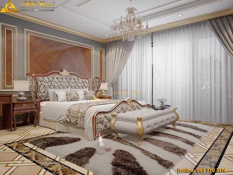 giường ngủ được thiết kế với phòng cách tân cổ điển