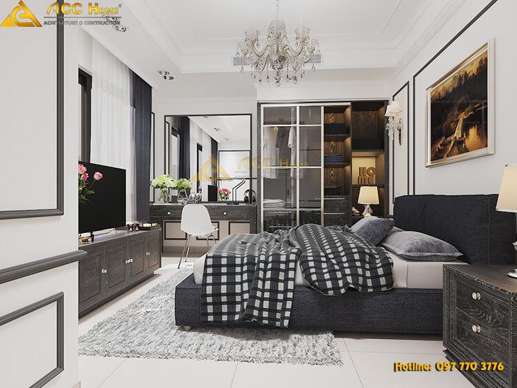 thiết kế phòng ngủ master tone đen trắng