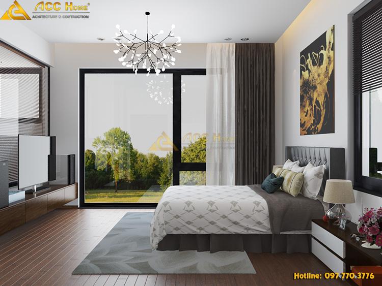 phòng ngủ được thiết kế với góc nhìn thẳng ra phía ngoài