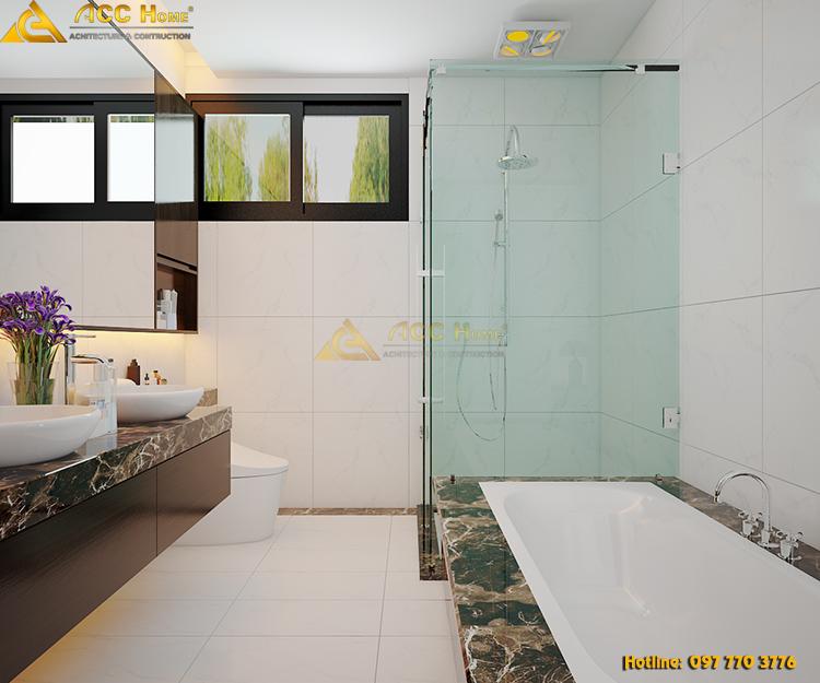phòng tắm được thiết kế cửa sổ thoát khí