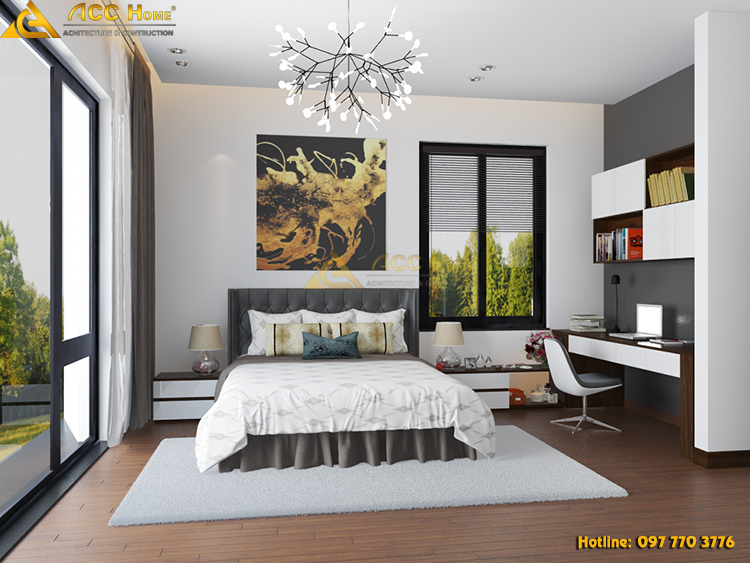 Không gian phòng ngủ được thiết kế mở