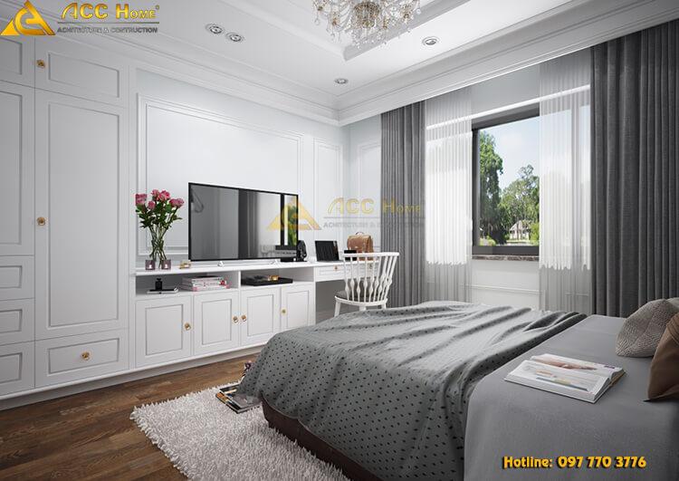 Phòng ngủ được thiết kế với đầy đủ tiện nghi