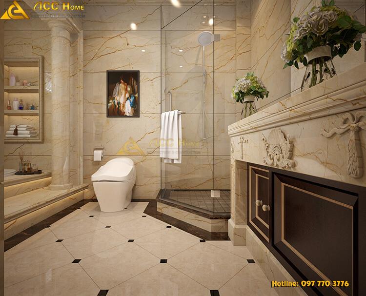 thiết kế nhà vệ sinh tối gián về màu sắc