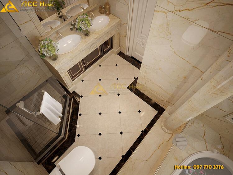 góc nhìn tiểu cảnh phòng vệ sinh từ bên trên