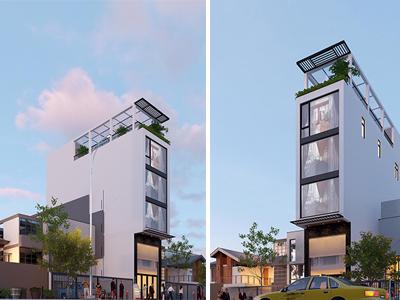 mẫu thiết kế nhà phố kinh doanh veston Nam