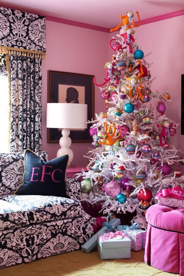 tự trang trí nhà màu hồng đón Noel
