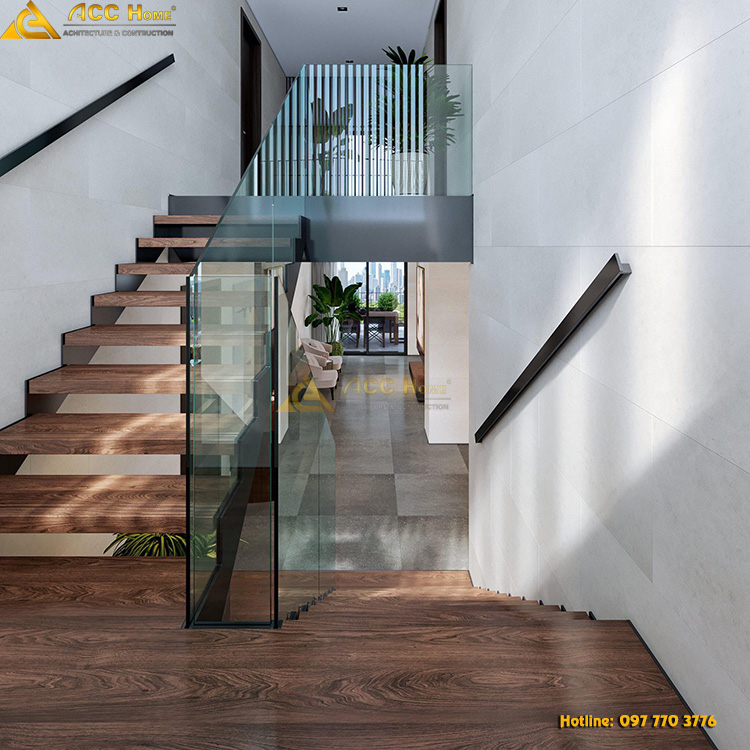 thiết kế cầu thang tam cấp lên tầng 2