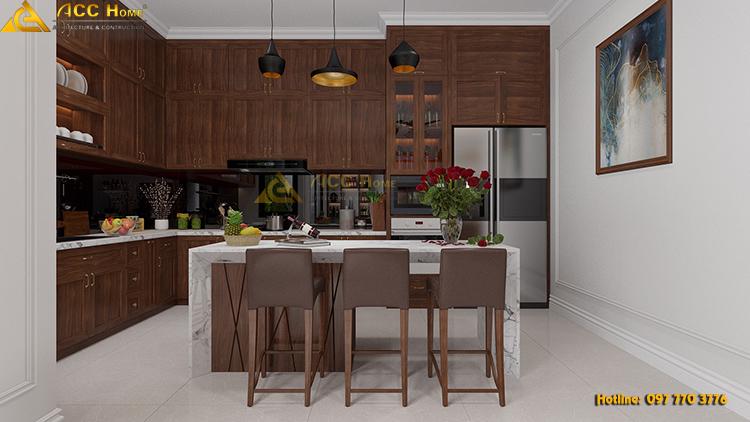 phòng ăn với nội thất gỗ