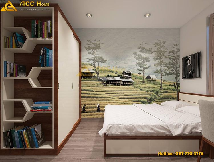 phòng master được thiết kế tiết kiệm diện tích