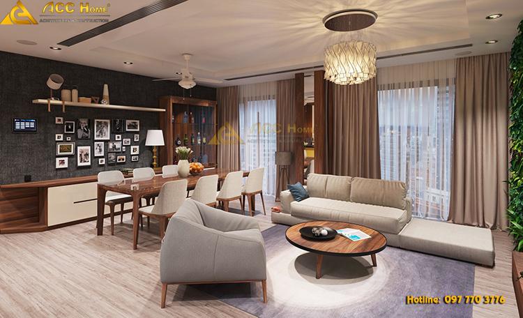 bàn ăn thiết kế cạnh phòng khách