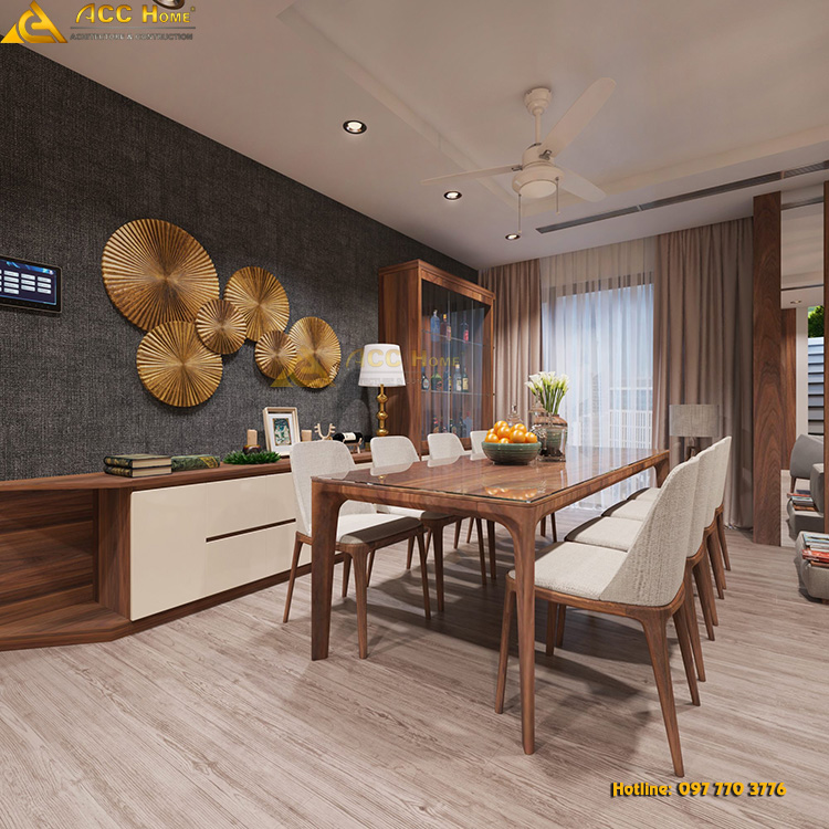 thiết kế bàn ăn bằng chất liệu gỗ tự nhiên