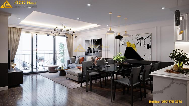 thiết kế nội thất chung cư hiện đại 120m2
