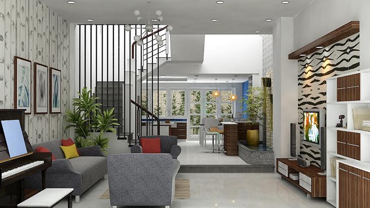 thiết kế nội thất phòng khách theo tiện ích