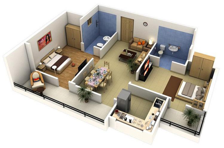 chung cư 2 phòng ngủ thoải mái