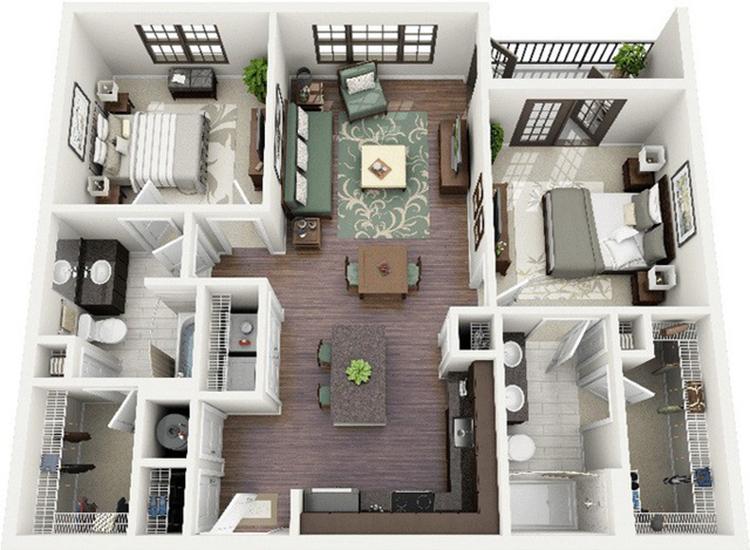 chung cư cao cấp 2 phòng ngủ