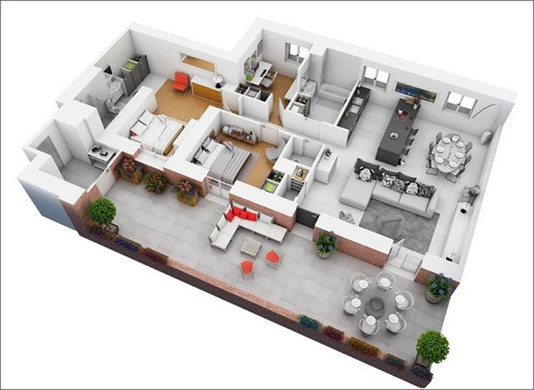 nội thất căn hộ 2 phòng master