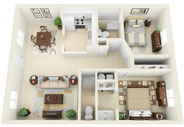 chung cư 2 phòng master