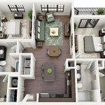 thiết kế nội thất chung cư 2 phòng ngru