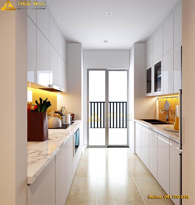 thiết kế phòng bếp gần ban công