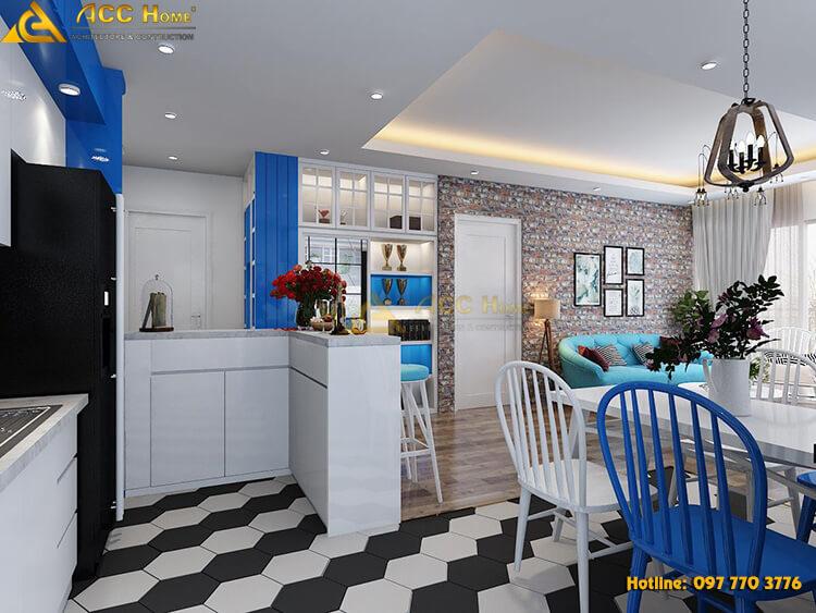 mầu phòng bếp trẻ hiện đại
