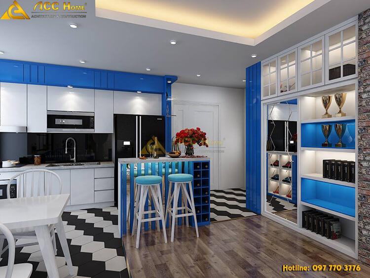 thiết kế nội thất phòng bếp màu xanh