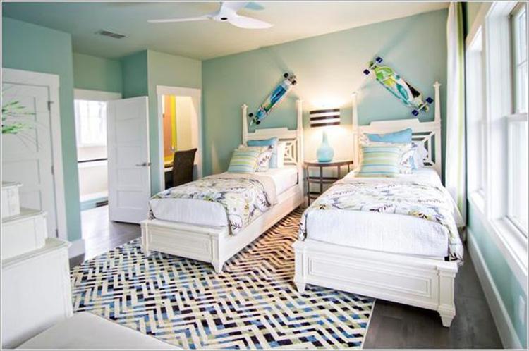phòng ngủ song sinh màu xanh
