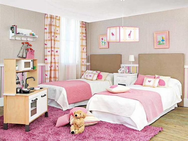 nội thất phòng ngủ bé gái sinh đôi