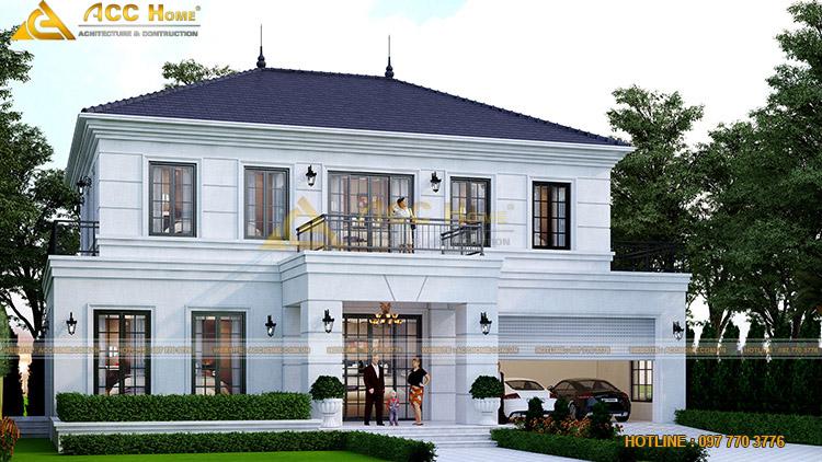 nhà 2 tầng mái Nhật màu trắng